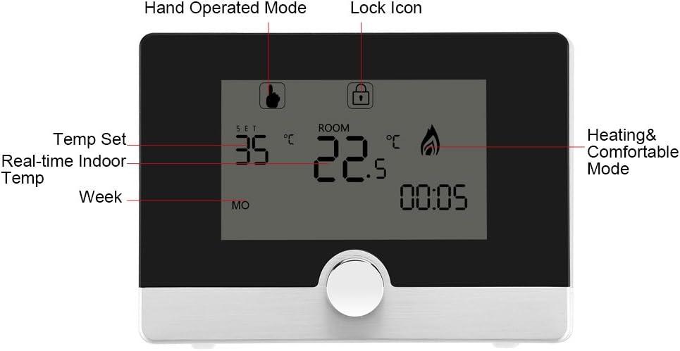 Thermostat programmable R/égulateur de contr/ôle de temp/érature intelligent Digital Lumi/ère bleue programmable sur 7 jours avec lumi/ère bleue et grand /écran pour syst/ème de chauffage mural noir