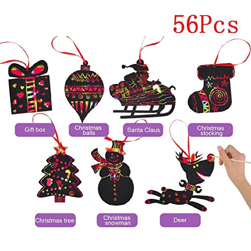 (56Pcs Rainbow Color Scratch Christmas Ornaments Craft Kit Toys Scratch Cards Including Snowman, Christmas Tree, and Reindeer,Santa Claus in Sleigh and More)