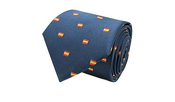 MasGemelos - Corbata Seda Azul Marino Bandera España Rectangular: Amazon.es: Ropa y accesorios