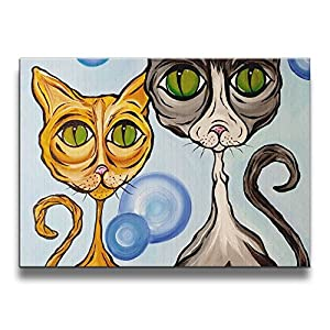 1620 Inch 2 Cats Jan-Bruso Designs Frameless Pictures Wall Art