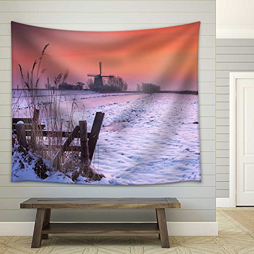Typical Dutch Polder Landscape with a Traditional Windmill Photographed in Winter at Sunrise Fabric Wall Tapestry