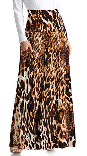 Animal Print Maxi Skirts for Women Foldover Maxi Skirt Long Flowy Skirt Animal Print Maxi Skirt Long Maxi Skirt (Size Small US 2-4, Animal Ankle-Length)