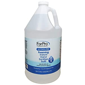 ForPro Alcohol-Free Foaming Instant Hand Sanitizer, Moisturizing, Dye and Fragrance Free, Gallon