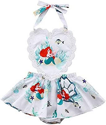 Mermaid Sea World Pattern Flower Edge Bodysuit and Solid Basic Style Rompers Outfits Clothes Baby Girls Rompers