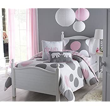 Amazoncom 4 Piece Girls Pink Grey Polka Dot Comforter Twin Set