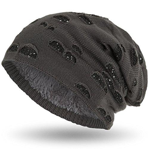 con de Gorro punto con elegante suave interior invierno Compagno lentejuelas Beanie Gris agujero ATWxnvE0
