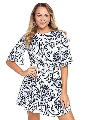 HUUSA Womens Sexy Round Neck Floral Pattern Ruffle Hem Chiffon Mini Dress