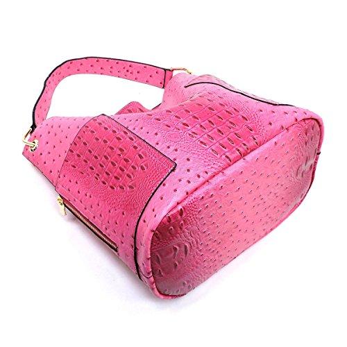 Crossbody Handbag Republic Side w Tote Ostrich Embossed Bag Inner Pockets Sz7npSA