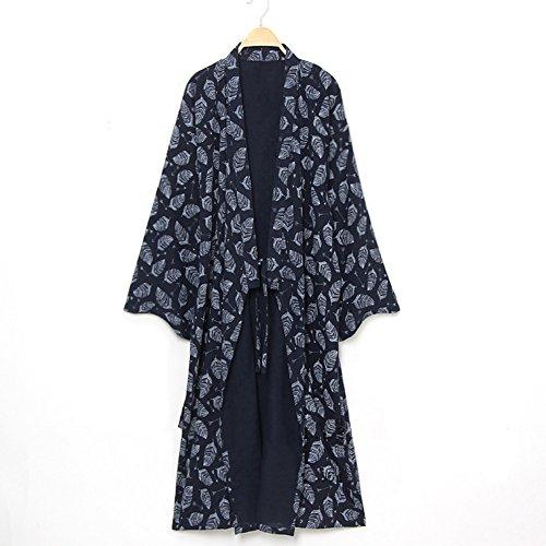 YOUMU Men Japanese Bathrobe Kimono Yukata Pajamas Cotton Soft Sleepwear Robe Gown (Yukata Cotton)