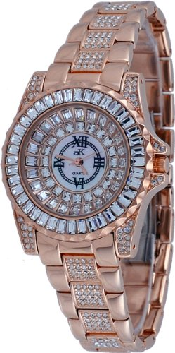 Adee Kaye #AK9-11LRG/CR Women's Rose Gold Tone Dazzling Bling Collection Baquette Crystal Accented Watch