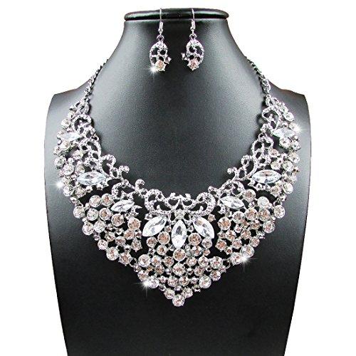 Rhinestone Crystal Necklace Earring Jewelry
