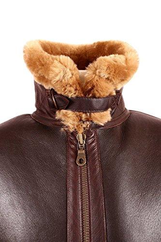Smart Range Veste de Cuir pour Hommes , Marron peau de mouton mérinos mouton véritable B3 la Première Guerre mondiale 2 Fur vol Aviator cuir.