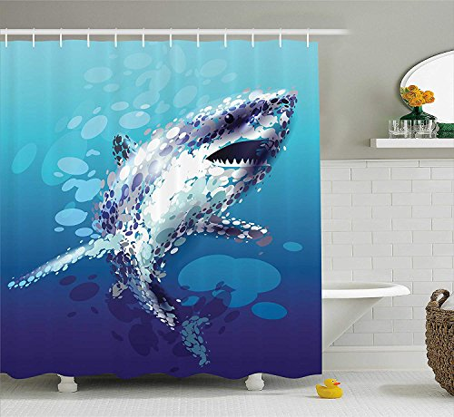 Droplet Figure - ROBIN GREEN Sea Animal Decor Shower Curtain, Digital Made Psychedelic Shark Figure with Droplets Scary Atlantic Beast, Fabric Bathroom Decor Set with Hooks, 75 Inches Long, Blue Grey