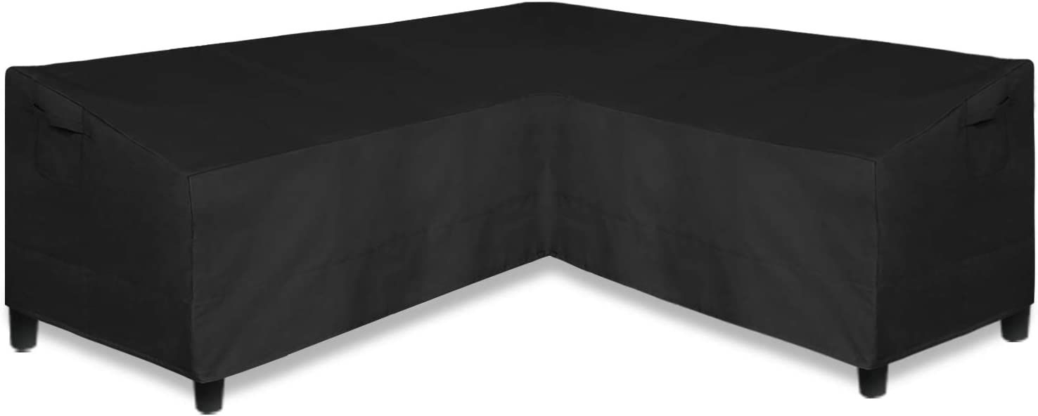 Easy-Going Patio V-Shaped Sectional Sofa Cover, Waterproof Outdoor Sectional Cover, Heavy Duty Garden Furniture Cover with Air Vent 70