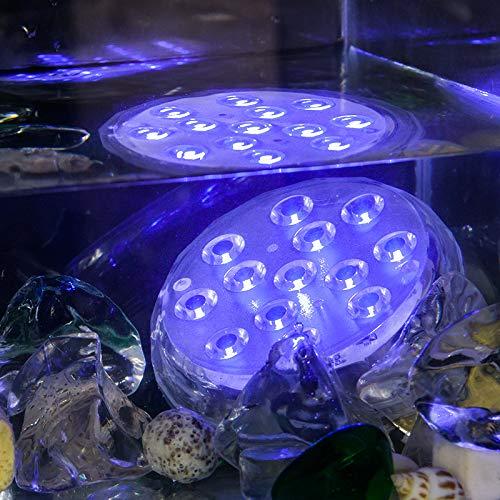 BXROIU Luz subacuática con mando a distancia, 2 unidades de luces submersible RGB multicambio de color, 13 ledes, decoración para jarrón, piscina, jardín, acuario, fuente, estanque
