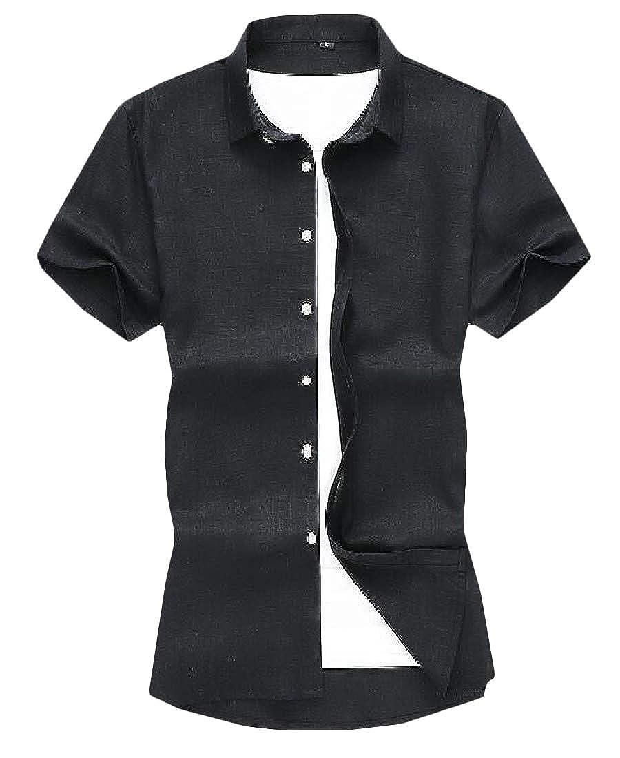 pipigo Mens Button-Down Office Pure Colour Short-Sleeve Plus Size Slim Fit Shirts