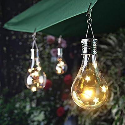 Fenleo 1Pc Hanging Solar Light Bulb, Waterproof Solar Powered Rotatable Stars Hanging LED Light Lamp Bulb for Outdoor Garden Camping
