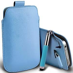 Nokia Lumia 920 premium protección PU ficha de extracción Slip Cord En la cubierta de la caja del filtro del bolsillo de la Piel y Mini capacitiva lápiz óptico retráctil Baby Blue por Spyrox