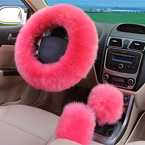 NPLE--3Pcs Long Plush Warm Pink Steering Wheel Cover Wool Handbrake Car Accessory