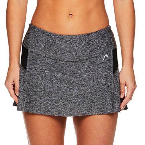HEAD Women's Athletic Tennis Skort - Performance Training & Running Skirt - Black Heather, Small