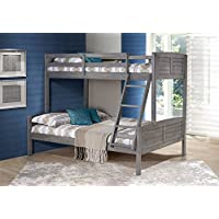 Twin Over Full Louver Bunk Bed in Antique Gray Finish