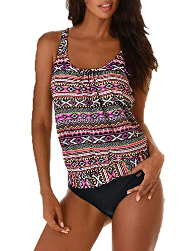 (Ladies Tribal Blouson Tankini Swimsuits for Women Two Piece Bathing Suits)
