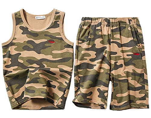Koupa Big Boys Camouflage Clothes Set Summer Beach Tank Tops and Shorts Active Outfits Army 3-4Y ()