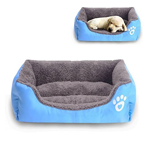 Barelove Pet Dog Bed, Washable Rectangular Pet Basket Bed , Durable and 100-Percent Waterproof and Fleece Lining Fit Most Pets (Small, Blue)