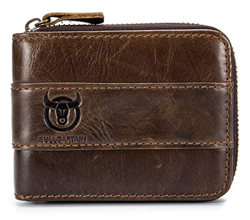 (BULLCAPTAIN Genuine Leather Mens Wallet Bifold Vintage Men Wallets Credit Cards Holder (Brown))