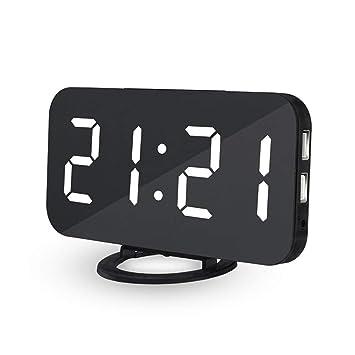 Tolyneil Reloj Despertador Digital con LED, Reloj de Espejo de Digitaces, mesita de Noche