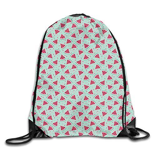 Drawstring Backpacks Bags,Watermelon Slices On Pastel Colored Background Pop Art Fresh Food,5 Liter Capacity,Adjustable