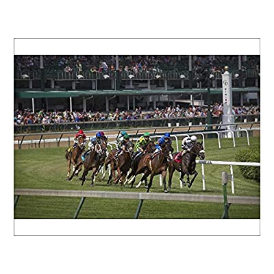 Media Storehouse Photographic Print of USA, Kentucky, Louisville. Horses Racing on Turf at Churchill Downs (12633762)