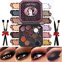 LUXAZA Smoky Eyeshadow Palette Browns 12 Colors Matte & Shimmer with Eyeliner & Brushes,Color-match & Pigmented & Soft Professional Makeup Kit – Brown