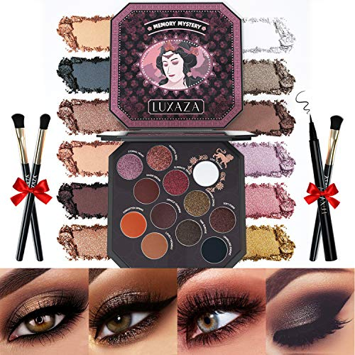 LUXAZA Eyeshadow Palette Browns 12 Colors Matte & Shimmer with Eyeliner & Brushes,Color-match & Pigmented & Soft…