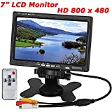 "12V-24V 7"" TFT LCD Screen 2CH Video Input Color HD Monitor for Car Rear View Reversing Backup Camera, DVD, Serveillance Camera, STB, Satellite Receiver, Black"