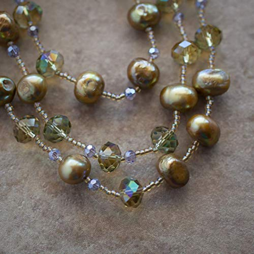 (60 Inch Extra Long Wraparound Olive Color Freshwater Pearl and Lavender Crystal Beaded Necklace)