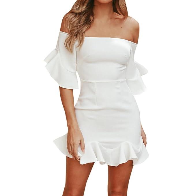 7d0e828df9c6 Longra Abito Manica Maniche in Pizzo con Spalle Scoperte Bianco Vestiti  Donna Elegante Cerimonia Mini Vestito Elegante Vestiti Donna Estate Corti  Eleganti ...