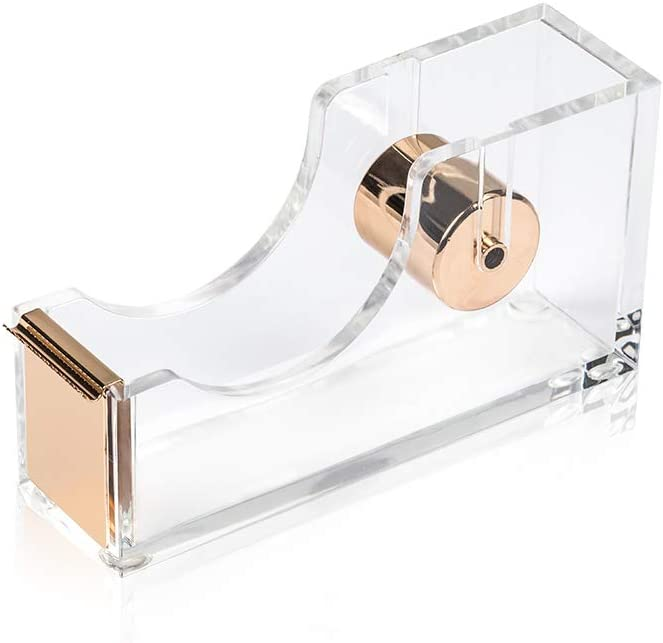 SIRMEDAL Contemporary Ultra Clear Acrylic Gold Quality Tape Dispenser Single Hand Dispensing Acrylic Gold Tape Dispenser, Tape Dispenser for Modern Design Office Desktop