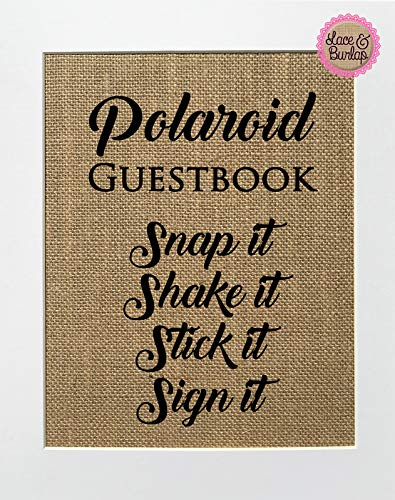 8x10 UNFRAMED Polaroid Guestbook. Snap It Shake It Stick It/Burlap Print Sign/Rustic Shabby Chic Vintage Wedding Decor Sign Guest Book Photo Guest Book ()