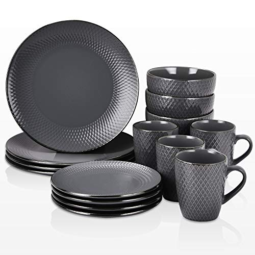 Pattern Gold Trim - 16 Piece Round Dishes Dinnerware Sets, Gray with Uneven Pattern and Gold Trim Ceramic Dinnerware Sets, Porcelain Dinnerware Sets for Everyday Use, Service for 4