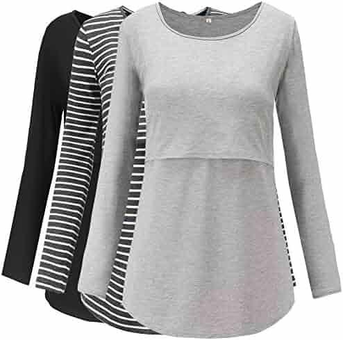 Jezero Womens Short Sleeve Nursing Tops Round Neck Breastfeeding Shirt 3-Pack