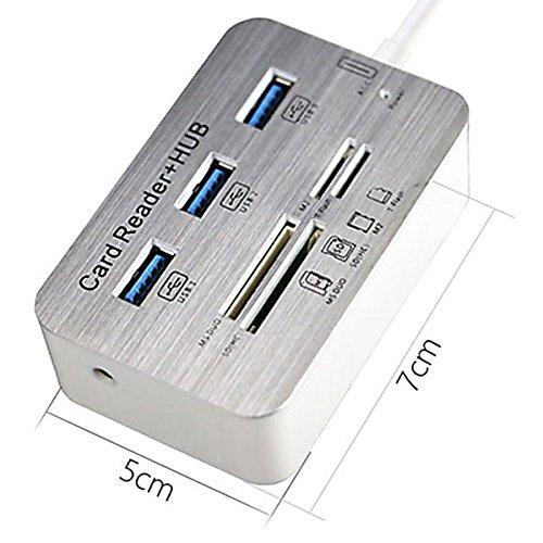 SODIAL hub USB 3.0 y lector de tarjetas COMBO Ha de alta velocidad con MS//SD//M2//TF y con 3 puertos usb divisor para computadora