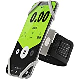 Bone Collection Sports Running Armband, Slim-Fit Cell Phone Arm Band Adjustable Strap, Touch ID Supported iPhone X 8 7 6S Plus Samsung Galaxy S9 S8 Note 8 Smartphones - Gray (Small)