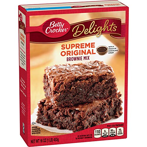Betty Crocker Delights, Supreme Original Brownie Mix, 16 oz Box (Pack of 8)