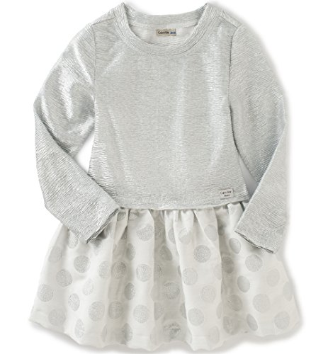 Calvin Klein Baby Crinkle Knit Body with Jacquard Skirt, Gray, 24 Months by Calvin Klein