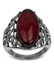 Sterling Silver Red Dark Amber Slim Filigree Oval Classic Ring