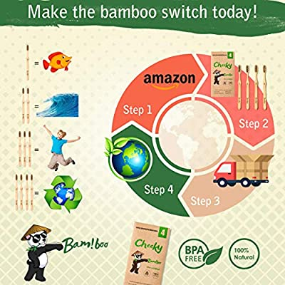 Cheeky Bamboo Toothbrush Biodegradable Organic Eco-Friendly Natural Charcoal-Infused w/BPA-Free Medium Soft Nylon Bristles [4 pack]