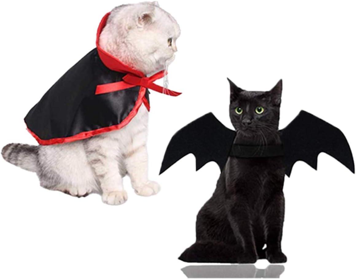 LAWOHO Disfraz de Halloween para mascota, 2 piezas, alas de murciélago, capa de vampiro, para gatitos, cachorros, perros, Halloween, Navidad, vacaciones y cosplay de mascotas