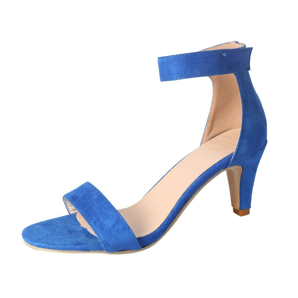 Sharemen Womens Ankle Strap Chunky Block High Heel - Party Dress Open Toe Sandals A Word Band Shoes (Blue,US: 7)