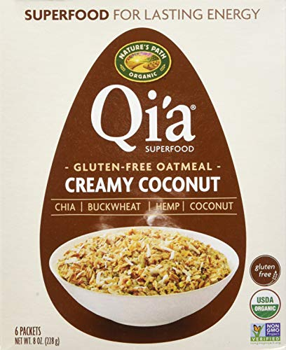 Qi'a Superfood Organic Hot Oatmeal - Creamy Coconut - 2 Boxes with 6 Packets Each Box (12 Packets Total) (8 oz ()